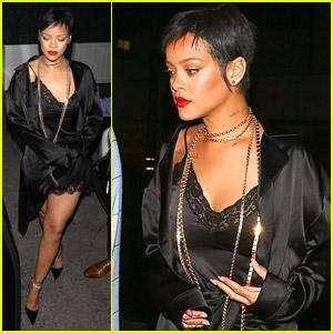Rihanna Wears Sexy Slip Dress Out To Dinner in LA