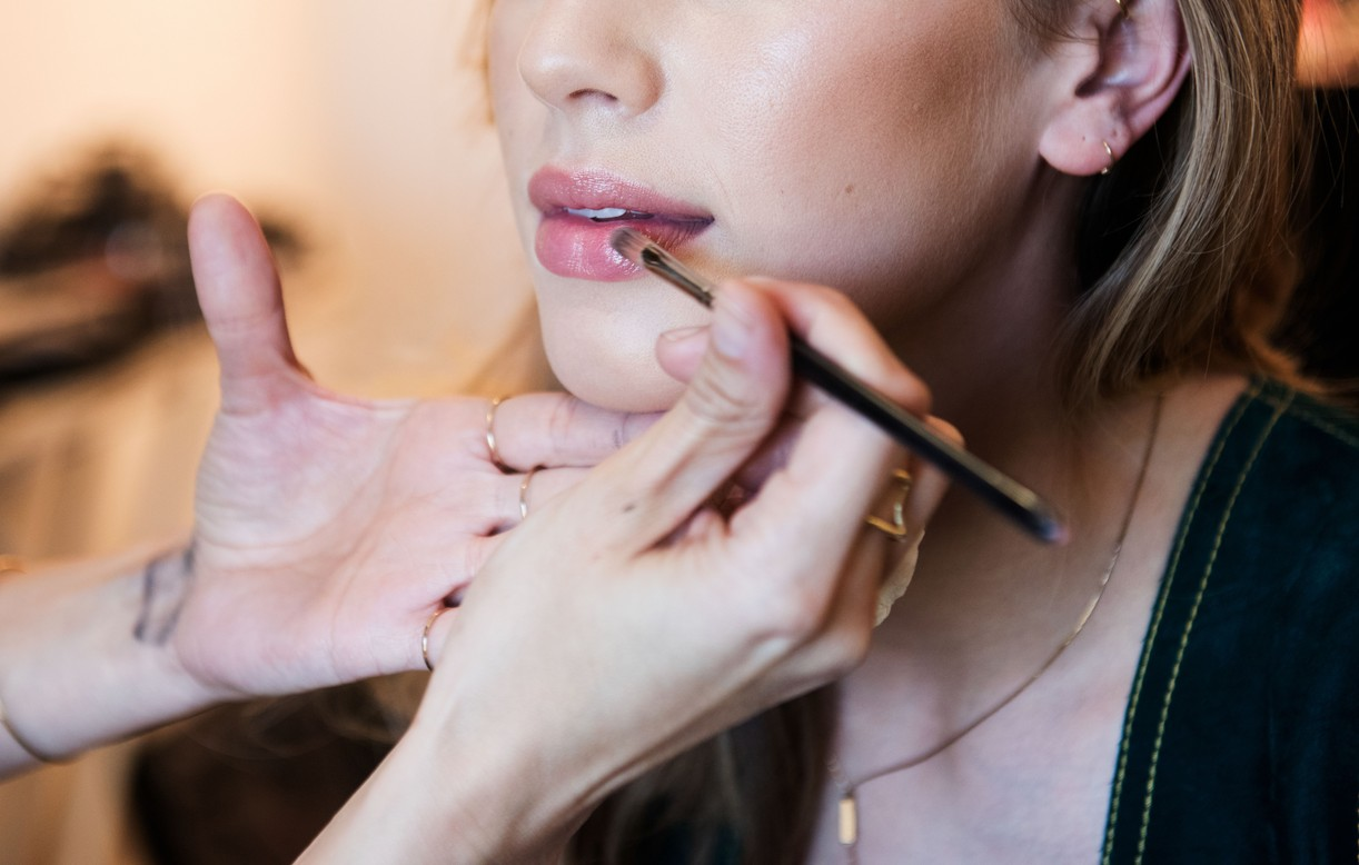 Dylan Penn Behind The Scenes getting lipstick applied