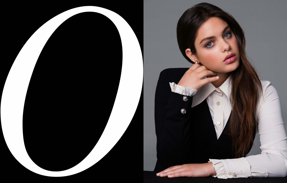 Odeya Rush portrait in color with her head rest on her hand